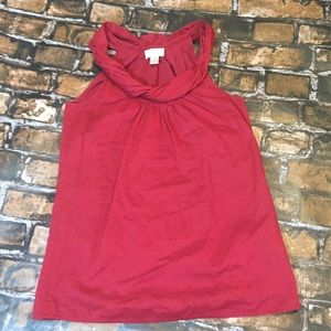 Tops - LOFT Red Sleeveless Twist Neck Top Size XS